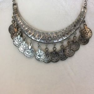 $10 CLEARANCE Statement Silver Coin Necklace